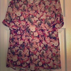 Zara sheer floral blouse